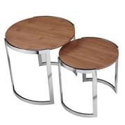Pangea Home Omni 2 Piece Nesting Tables; Walnut