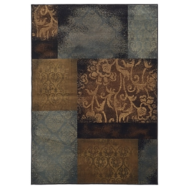 StyleHaven Geometric Floral Blue/ Brown Indoor Machine-made Polypropylene Area Rug (6'7
