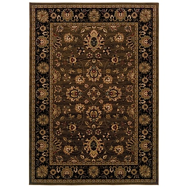 StyleHaven Oriental Brown/ Black Indoor Machine-made Polypropylene Area Rug (6'7