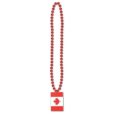 Beads With Printed Canadian Flag Medallion, 36