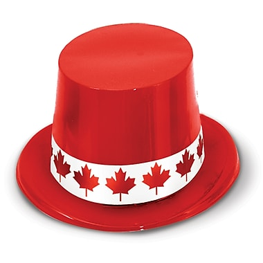 Red Plastic Topper With Maple Leaf Band, One Size Fits Most, 24/Pack