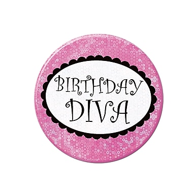 Birthday Diva Button, 3-1/2