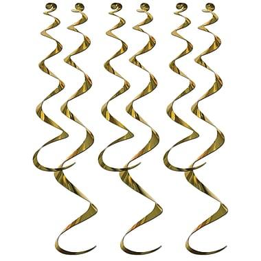 Déco en spirales, 24 po et 36 po, dorée, 18/paquet