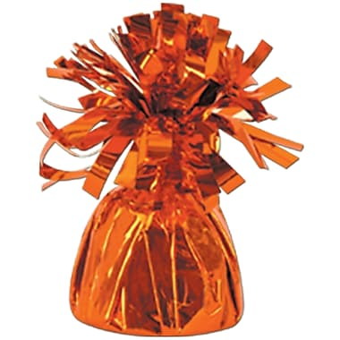 Metallic Wrapped Balloon Weight, Each Photo/Balloon Weight Weighs 6 Ounces, Orange, 14/Pack