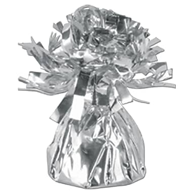 Metallic Wrapped Balloon Weight, Each Photo/Balloon Weight Weighs 6 Ounces, Silver, 14/Pack