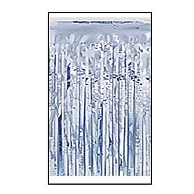 Draperie à franges métallisées 1 épaisseur ignifuge, 15 po x 10 pi, argenté, 2/paquet