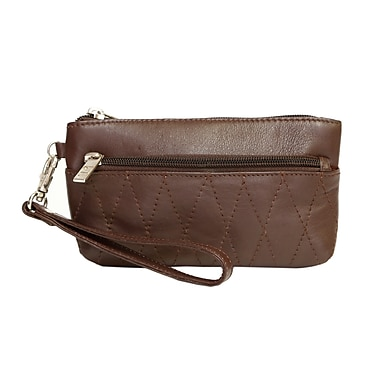 Ashlin® Eliane Wristlet Bag with Front/Back Zipper and Quilting, Dark Brown