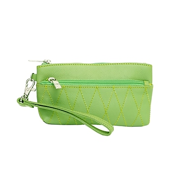 Ashlin® Eliane Wristlet Bag with Front/Back Zipper and Quilting, Lime Green