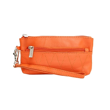 Ashlin® Eliane Wristlet Bag with Front/Back Zipper and Quilting, Orange
