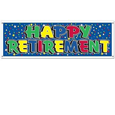 Bannière Happy Retirement, 5 pi 3 po x 21 po, 3/paquet
