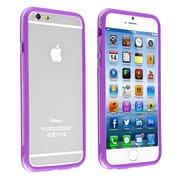 Insten® TPU Bumper Case With Aluminum Button For iPhone 6, Clear/Purple