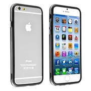 Insten® TPU Bumper Case With Aluminum Button For iPhone 6, Clear/Black