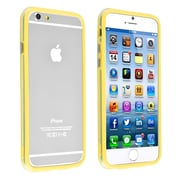 Insten® TPU Bumper Case With Aluminum Button For iPhone 6, Clear/Yellow