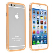 Insten® TPU Bumper Case With Aluminum Button For iPhone 6, Clear/Orange