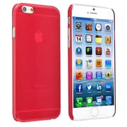 Insten® Snap-In Slim Case For iPhone 6, Clear Red Rear