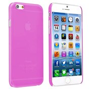 Insten® Snap-In Slim Case For iPhone 6, Clear Hot Pink Rear