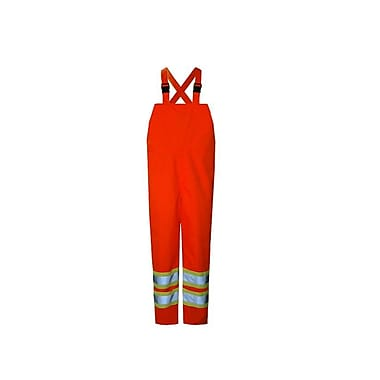 Open Road 150D Hi-Viz Waterproof Safety Bib Pants, Fluorescent Orange, 2X-Large