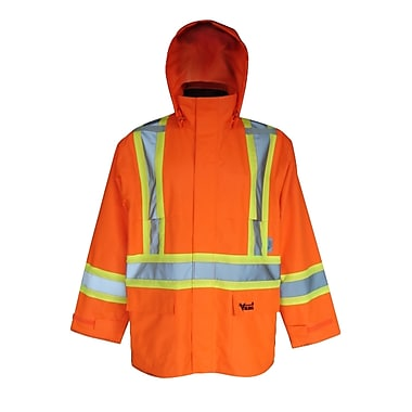Viking Handyman 300D Waterproof Safety Rain Jacket, Fluorescent Orange, Medium