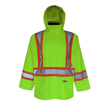 Viking Handyman 300D Waterproof Safety Rain Jacket, Fluorescent Green, 3X-Large