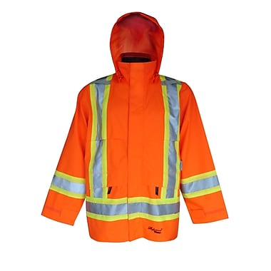Viking Professional Journeyman 300D Waterproof Safety Rain Jacket, Fluorescent Orange, 4X-Large