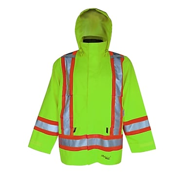 Viking Professional Journeyman 300D Waterproof Safety Rain Jacket, Fluorescent Green, 2X-Large