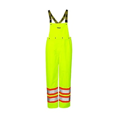 Viking Journeyman 300D Waterproof Insulated Safety Detachable Bib Pants, Fluorescent Green, 2X-Large