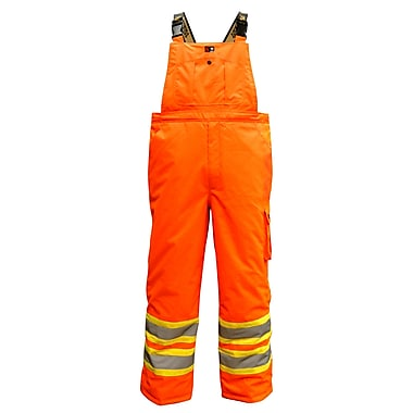 Viking Professional Freezer 300D Waterproof Insulated Safety Bib Pant, Fluorescent Orange