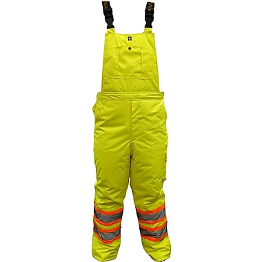 Viking Professional Freezer 300D Waterproof Insulated Safety Bib Pant, Fluorescent Green, 2X-Large