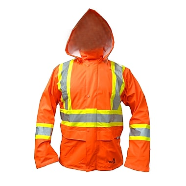 Viking FR 3M Scotchlite™ Striped PU Waterproof Rain Jacket, Fluorescent Orange, Large