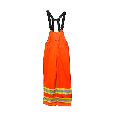 Viking FR 3M Scotchlite™ Striped PU Waterproof Bib Pant, Fluorescent Orange, Large
