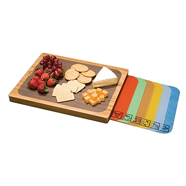 Seville Classics Bamboo Cutting Board with 7 Mats