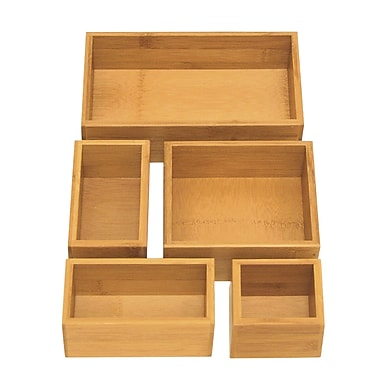 Seville Classics 5-Piece Bamboo Drawer Organizer Box Assorted Sizes