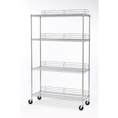 Seville Classics 4-Shelf Shelving System with Ledges and Wheels