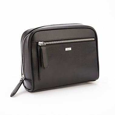 Royce Leather Toiletry Wash Bag, Black