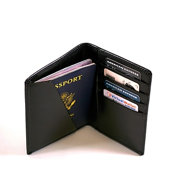 Royce Leather RFID Blocking Travel Wallet, Black
