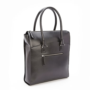 Royce Leather RFID Blocking Laptop Tote, Black, Silver Foil Stamping, 3 Initials