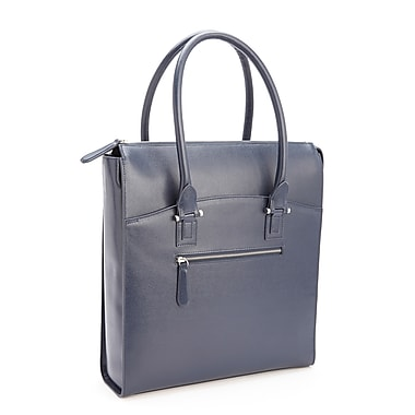 Royce Leather RFID Blocking Laptop Tote, Blue, Silver Foil Stamping, Full Name