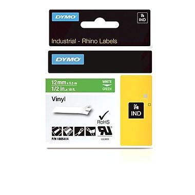 Dymo® - Étiquettes adhésives Rhino™ Industrial en vinyle, 1/2 po x 18 pi, impression blanche sur vert