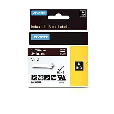 Dymo® - Étiquettes adhésives Rhino™ Industrial en vinyle, 3/4 po x 18 pi, texte blanc sur brun
