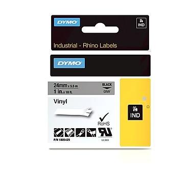 Dymo® - Étiquettes adhésives Rhino™ Industrial en vinyle, 1 po x 18 pi, texte noir sur gris