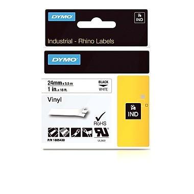 Dymo® - Étiquettes adhésives Rhino™ Industrial en vinyle, 1 po x 18 pi, texte noir sur blanc