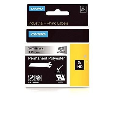 Dymo® – Ruban adhésif en polyester permanent industriel Rhino™, 1 po x 18 pi, texte noir sur ruban métallique