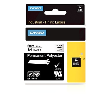 Dymo® Rhino™ Industrial Vinyl Adhesive Labels, 1/4