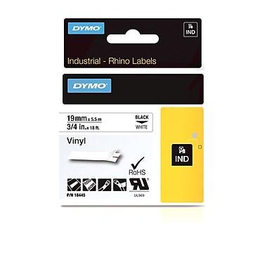 Dymo® - Étiquettes adhésives Rhino™ Industrial en vinyle, 3/4 po x 18 pi, texte noir sur blanc
