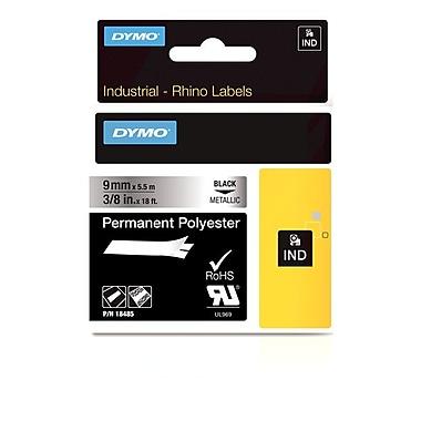 Dymo® – Ruban adhésif industriel Rhino™ en polyester permanent métallique, 3/8 po x 18 pi
