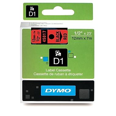 Dymo® – Ruban D1 en polyester permanent, 1/2 po, texte noir sur rouge