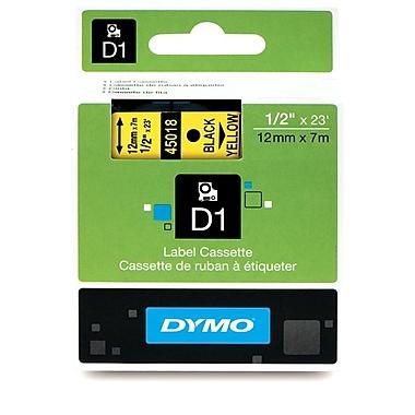 Dymo® – Ruban D1 en polyester permanent, 1/2 po, texte noir sur jaune