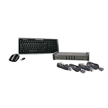 IOGEAR® 4Port DVI KVM Switch With Cables and Wireless Keyboard/Mouse Combo