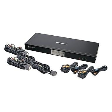 IOGEAR – Commutateur KVM DVI en lien double à 4 ports avec son multicanal 7.1 et câbles
