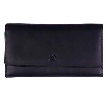 Roots Clutch Wallet with Check Book - Silhouette Collection, Black
